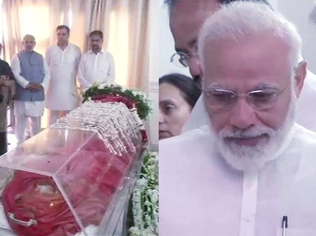 भाजपा नेताओं ने दी सुषमा को श्रद्दांजलि, भावुक हुए मोदी