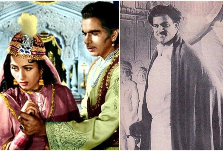 फ़िल्म के एक दृश्य में मधुबाला और दिलीप कुमार, निर्माता के.आसिफ (दाएं)