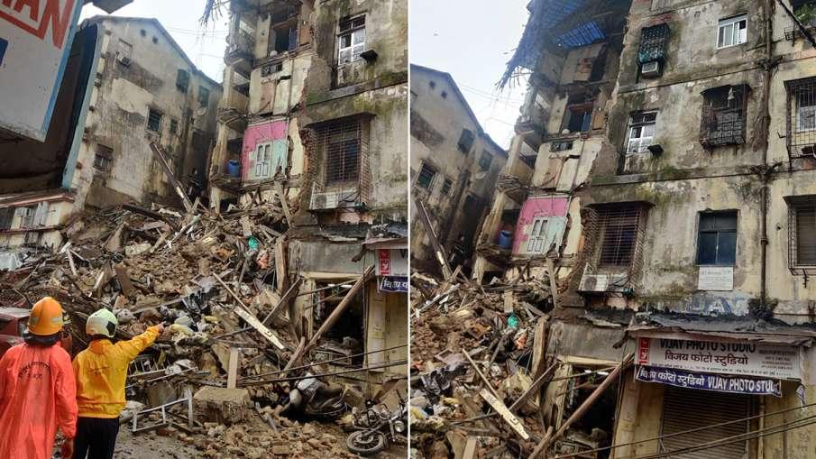 मुंबई में ढह गया पुरानी छह मंजिला इमारत के कोने का हिस्सा